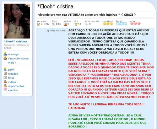 Perfil no Orkut de Eloá Cristina Pimentel