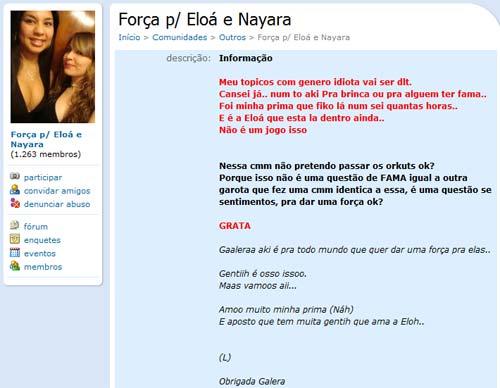 Comunidade de apoio a Eloá e Nayara Rodrigues da Silva